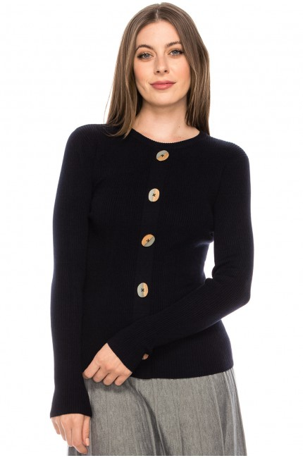 Wooden Button Sweater - navy