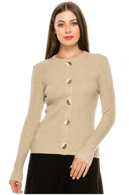 Wooden Button Sweater - Oatmeal