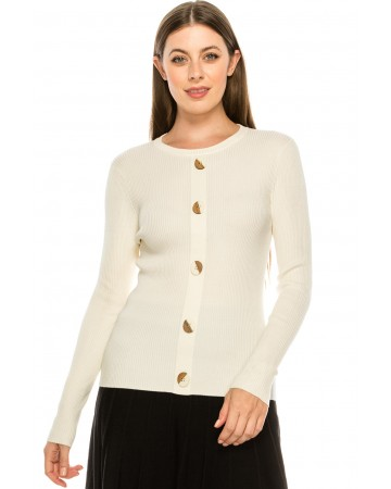 Wooden Button Sweater - White
