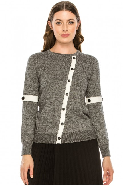 BUTTON EMBELLISHED SWEATER