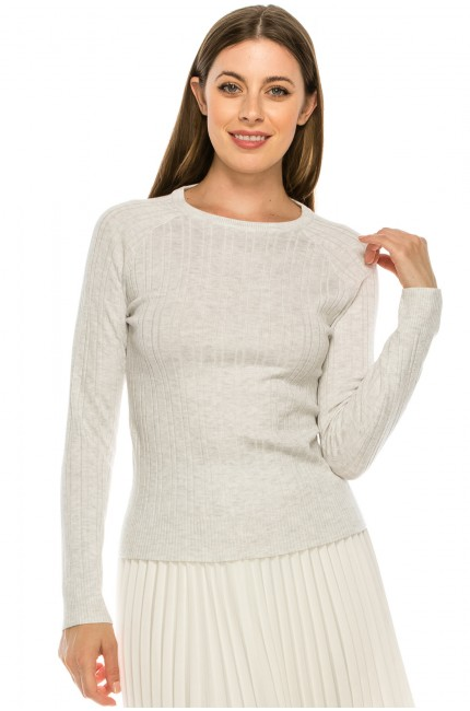 Classic Heather Grey Ribbed Top