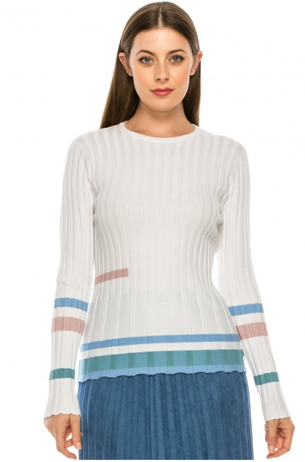 Ridged Ribbed Top with Colored Stripes