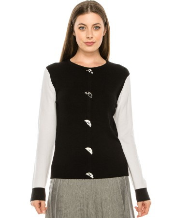 Button front TWO TONE SWEATER