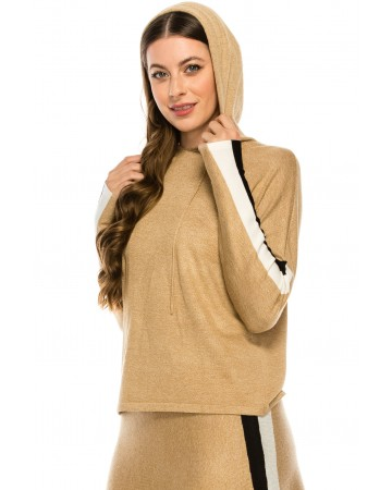 Camel and White Hoodie