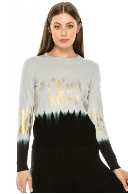 Black and white ombre top with gold detailing