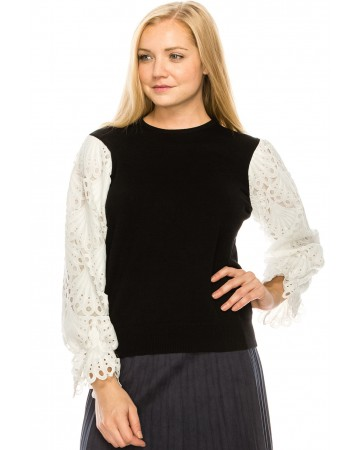 voluminous lace sleeve Top