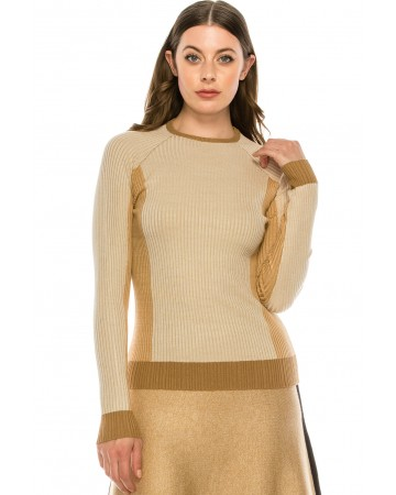 Ribbed color block top Camel