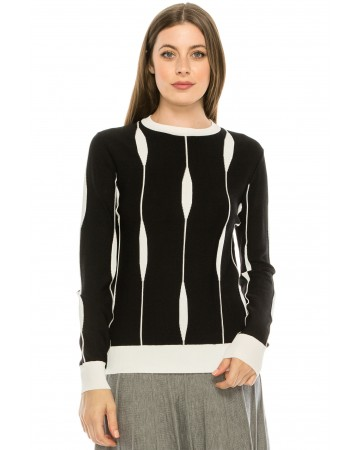 Abstract Piping Sweater Black