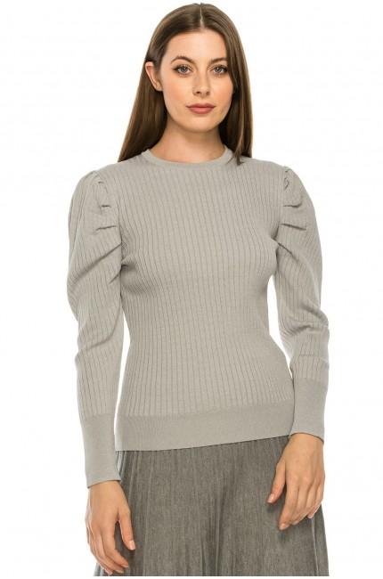 Grey Puff Sleeve Shoulder