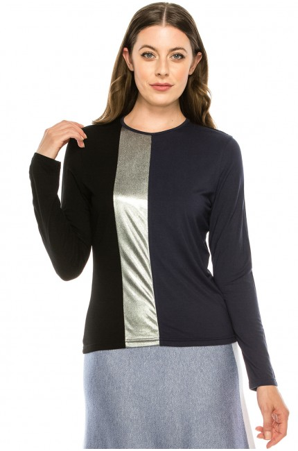 Navy Top With Silver Stipe