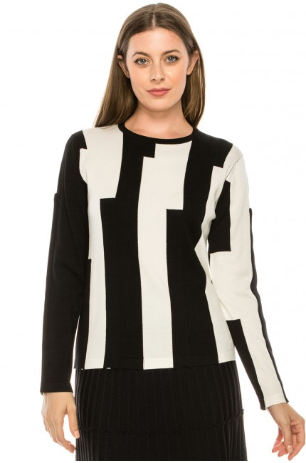 Thick Striped Black and White Top