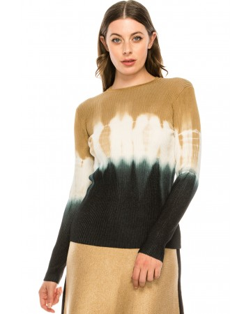 Camel Tye-dye ribbed top