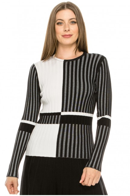 Black Ribbed Color Block Striped Top