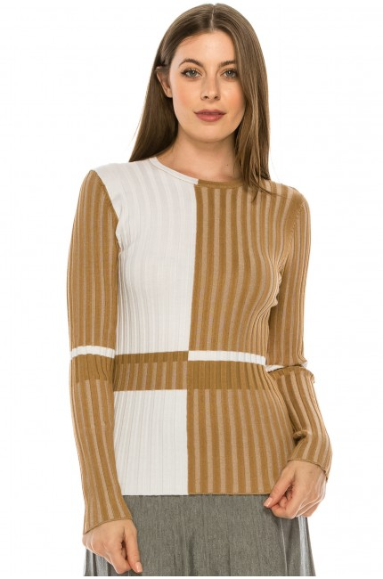 Camel Ribbed Color Block Striped Top