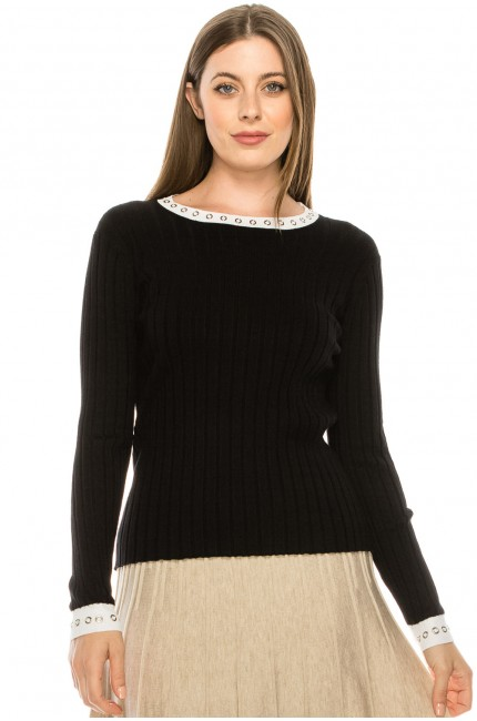 Knit Top With Circle Details