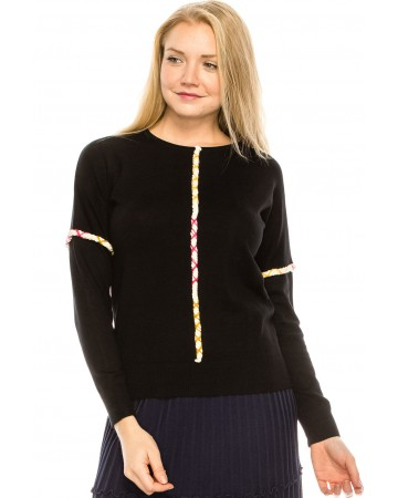 Middle Piped Line Sweater