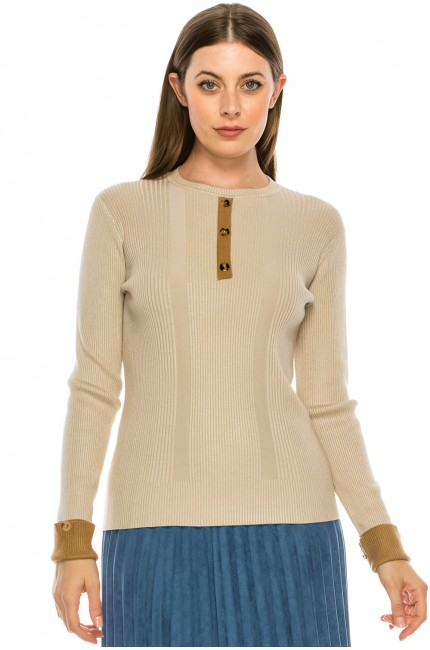 Ribbed Sweater with Large Buttons