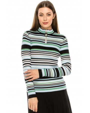 Blue Striped Ribbed Sweater