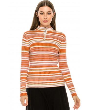 Orange Striped Ribbed Sweater