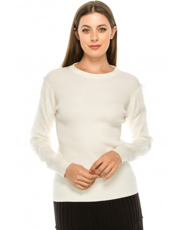 Dotted Puffed Sleeve Top White