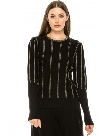 Knit top with Gold Piping
