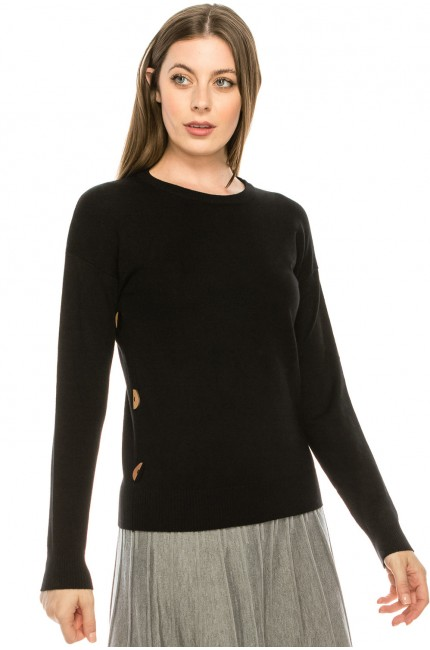 Top with Wooden Button side detailing - Black