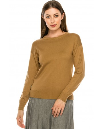 Top with Wooden Button side Detailing - Camel