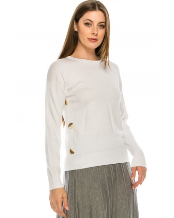 Top with Wooden Button side detailing - White