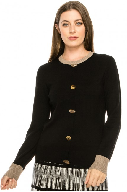 Two Tone Sweater - Black and Beige