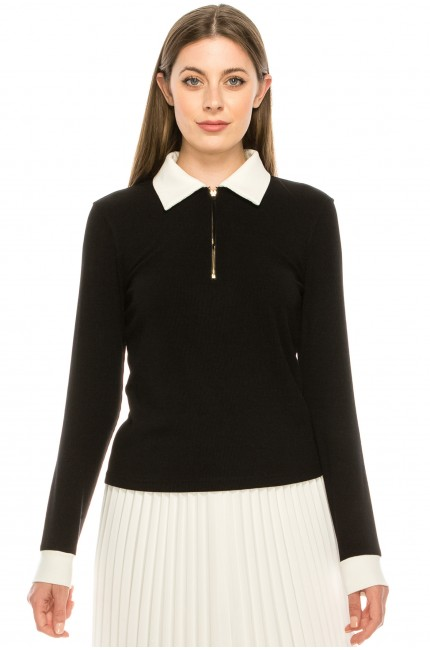 Black and White Collared Sweater