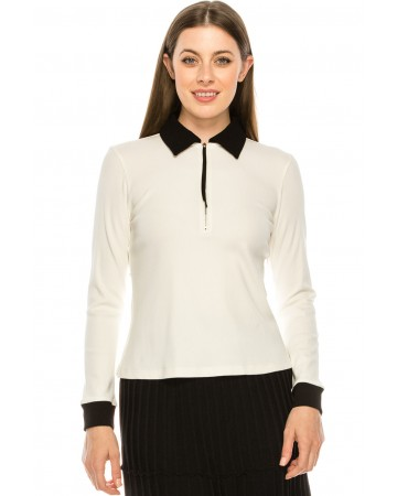 White and Black Collared Sweater