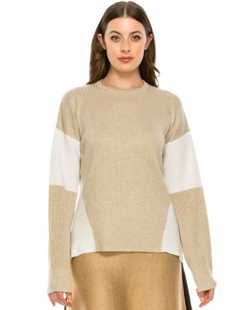 Blocked Sleeve Top Oatmeal
