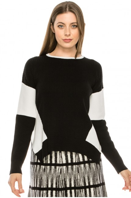 Blocked Sleeve Top Black