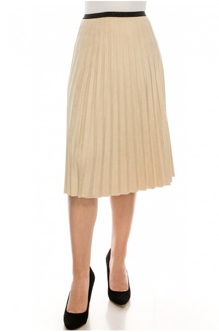 TAN PLEATED SUEDE SKIRT