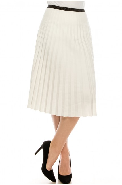 WHITE PLEATED SUEDE SKIRT