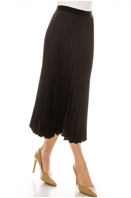 Grey and Black Chiffon Midi Skirt