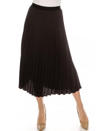 Grey and Black Chiffon Midi Skirt