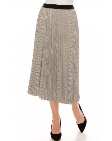 Black and White Chiffon Midi Skirt
