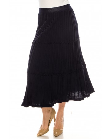 Tiered Pleated Ankle Skirt Navy