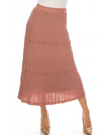 Tiered Pleated Ankle Skirt Pink