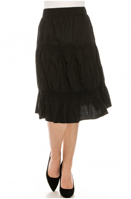 Ruched Midi Skirt Black