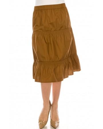 Ruched Midi Skirt Camel