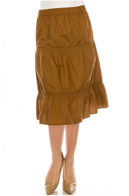 Ruched Midi Skirt Camel
