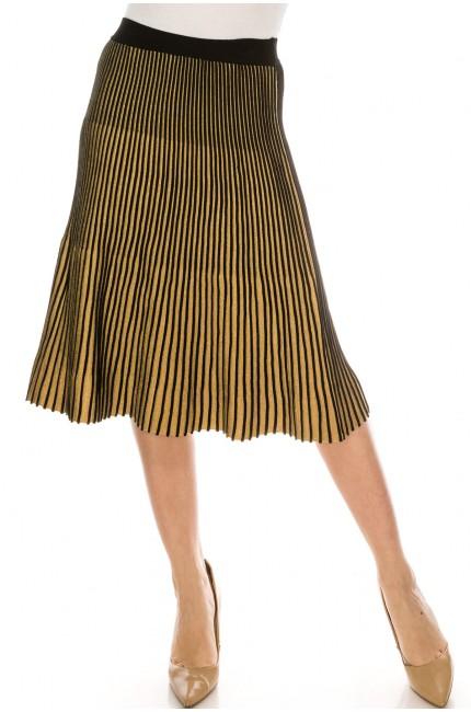 Striped knit skirt