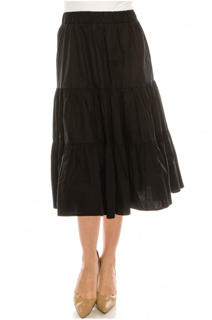 Ruched tiered skirt  black