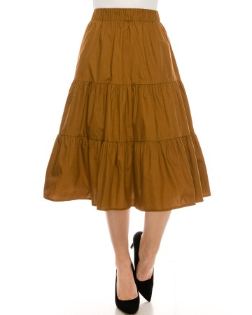 Ruched tiered skirt Brown