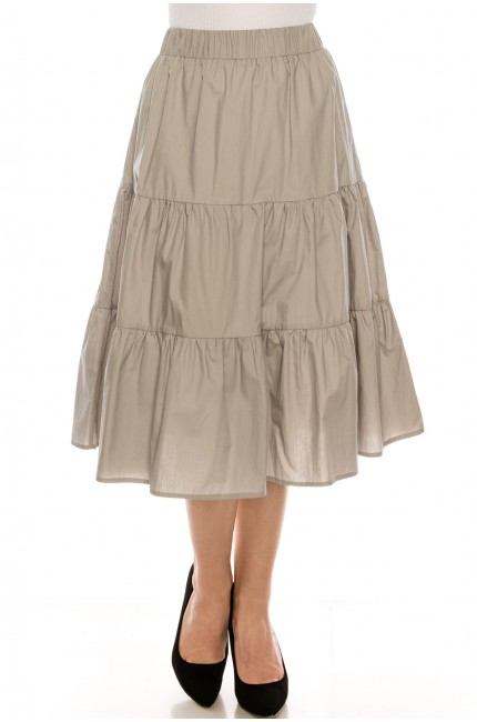 Ruched tiered skirt Grey