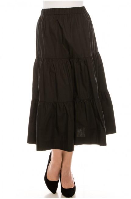 Midi Ruched Skirt Black