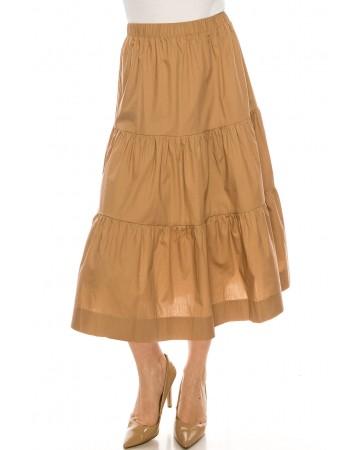 Midi Ruched Skirt Camel