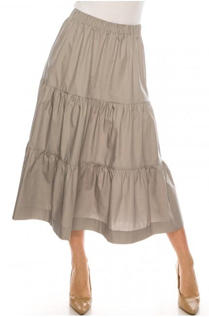 Midi Ruched Skirt Grey